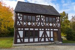 Hessenpark is an open-air museum in Hesse, Germany. Hessenpark - open-air museum, showcases ancient half-timbered buildings from the land of Hesse. Germany. Old stock image