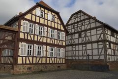Hessenpark is an open-air museum in Hesse, Germany. Hessenpark - open-air museum, showcases ancient half-timbered buildings from the land of Hesse. Germany. Old royalty free stock images