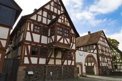 Hessenpark is an open-air museum in Hesse, Germany. Hessenpark - open-air museum, showcases ancient half-timbered buildings from the land of Hesse. Germany stock image