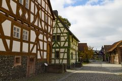 Hessenpark is an open-air museum in Hesse, Germany. Hessenpark - open-air museum, showcases ancient half-timbered buildings from the land of Hesse. Germany royalty free stock photo