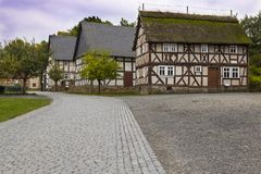 Hessenpark is an open-air museum in Hesse, Germany. Hessenpark - open-air museum, showcases ancient half-timbered buildings from the land of Hesse. Germany stock photo