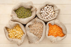 Hessian bags with cereal grains stock photo