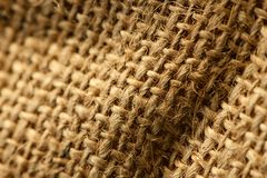 Hessian burlap sack macro. With selective focus royalty free stock images