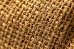 Hessian burlap sack macro. With selective focus stock image