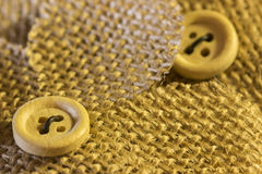 Hessian Flowers. With button detail Stock Photo