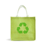 Hessian or jute shopping bag with recycle sign Stock Image
