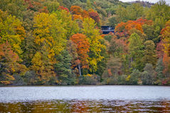 Hessian Lake Hillside. An Autumn view of the hillside across from Hessian Lake in Bear Mountain State Park in New York stock photos