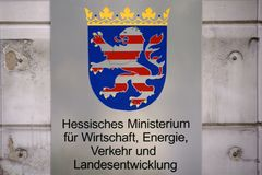 Hessian Ministry of Economy, Transport and Development. Wiesbaden, Germany - September 25, 2018: The shield and coat of arms of the Hessian Ministry of Economic stock photo