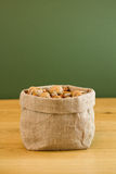 Hessian sack full of mixed nuts Royalty Free Stock Image