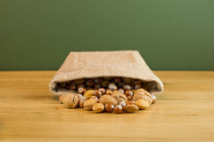 Hessian Sack with Mixed Nuts Stock Photography