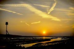 Heswall solnedgångfyr Fotografering för Bildbyråer