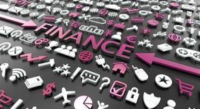 het 'woord van financiën met 3d pictogrammen vector illustratie