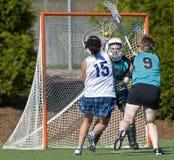 Het 1st schot van de Lacrosse van meisjes Stock Foto