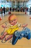 het 3d illusionary schilderen door Leon Keer kunstenaar. Stock Afbeeldingen