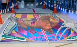 het 3d illusionary schilderen door Tony Cuboliquido kunstenaar. Royalty-vrije Stock Foto's