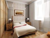 het 3d slaapkamer teruggeven Royalty-vrije Stock Afbeeldingen
