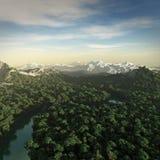 het 3D teruggeven van een fictief landschap. Royalty-vrije Stock Afbeelding