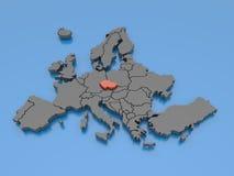 het 3d teruggeven van een kaart van Europa - Tsjechische Republiek Stock Foto