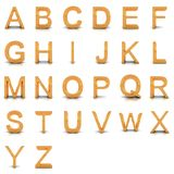 het 3D teruggeven van gouden alfabet. Royalty-vrije Stock Fotografie