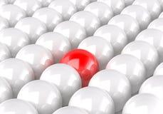 het 3d teruggeven van witte ballen, met één binnen rood vector illustratie