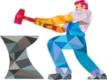 Het Aambeeld Lage Veelhoek van smidsworker striking hammer Royalty-vrije Stock Afbeelding