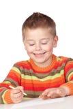 Het aanbiddelijke jongen bestuderen Stock Afbeeldingen