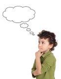 Het aanbiddelijke jongen denken Stock Afbeelding