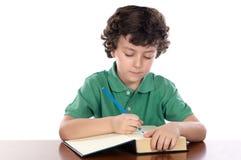Het aanbiddelijke kind schrijft in boek royalty-vrije stock foto