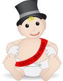 Het aanbiddelijke Nieuwjaar dat van de Baby hoed en handschoenen draagt Royalty-vrije Stock Foto