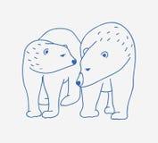 Het aanbiddelijke paar ijsberen overhandigt getrokken met contourlijnen op witte achtergrond Krabbeltekening van paar van beeldve vector illustratie