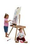 Het aanbiddelijke Schilderen van Jonge geitjes Royalty-vrije Stock Afbeelding