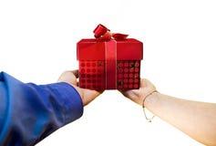 Het aanbieden van een gift stock afbeelding
