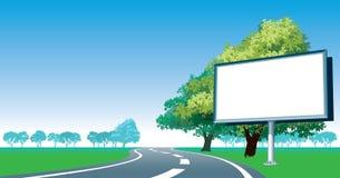 Het aanplakbord en de kant van de wegbomen van de weg stock illustratie