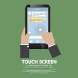 Het aanrakingsscherm op Smartphone Stock Afbeelding