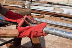Het aansluiten bij zich van pijpen van roestvrij staal met centralisator Stock Foto's