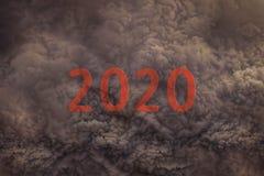 Het aanstaande nieuwe jaar van 2020 naar het gevaarlijke onweer stock illustratie