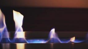 Het aansteken van een brand in bioopen haard Moderne bioopen haard op ethylalcoholgas Sluit vlam omhoog het schieten stock videobeelden