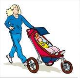 het aanstoten met kinderwagen Royalty-vrije Stock Afbeeldingen