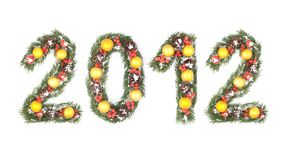 het aantal van 2012 dat door de takken van de Kerstmisboom wordt geschreven Royalty-vrije Stock Afbeelding