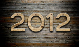 het aantal van 2012 op houten achtergrond Stock Fotografie