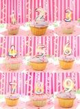 Het aantal van de verjaardag cupcakes Stock Foto