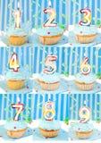Het aantal van de verjaardag cupcakes Royalty-vrije Stock Afbeeldingen