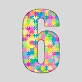 Het Aantal van het kleurenraadsel - 6 Zes Gigsaw, Stuk Stock Foto