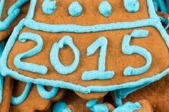 het aantal van 2015 op koekje Stock Afbeelding