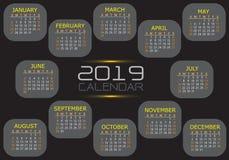 Het aantalgrijs van de kalender 2019 geel wit tekst op zwarte ontwerp moderne vector vector illustratie
