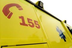 Het aantalteken van de noodsituatietelefoon op ziekenwagenauto Royalty-vrije Stock Afbeelding