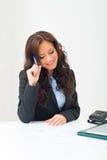 Het aantrekkelijke bedrijfsvrouw werken Stock Afbeelding