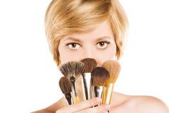 Het aantrekkelijke concept van de blondemake-up royalty-vrije stock fotografie