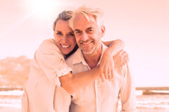 Het aantrekkelijke echtpaar stellen bij het strand royalty-vrije illustratie