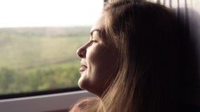 Het aantrekkelijke, jonge meisje glimlacht bij de camera Het reizen door trein Groene aard buiten het venster Het meisje kijkt stock video